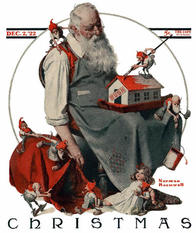 norman-rockwell-cover-christmas-santa-with-elves